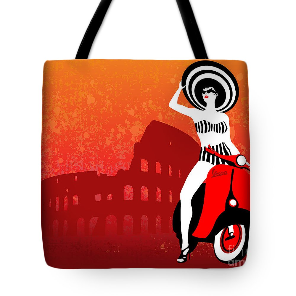 Vespa Tote Bag featuring the painting Vespa Girl by Sassan Filsoof