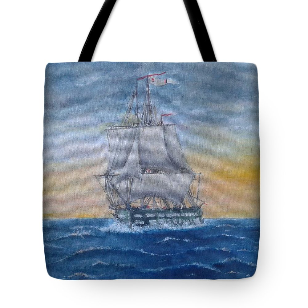Ship Vessel Sail Sea Old Mariner Waves Sky Tote Bag featuring the painting Vessel At Sea by Luca Pisanu
