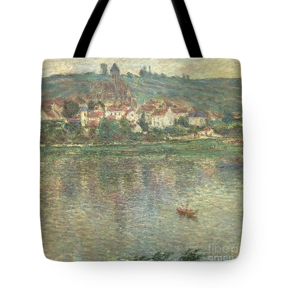 Monet Tote Bag featuring the painting Vetheuil by Claude Monet
