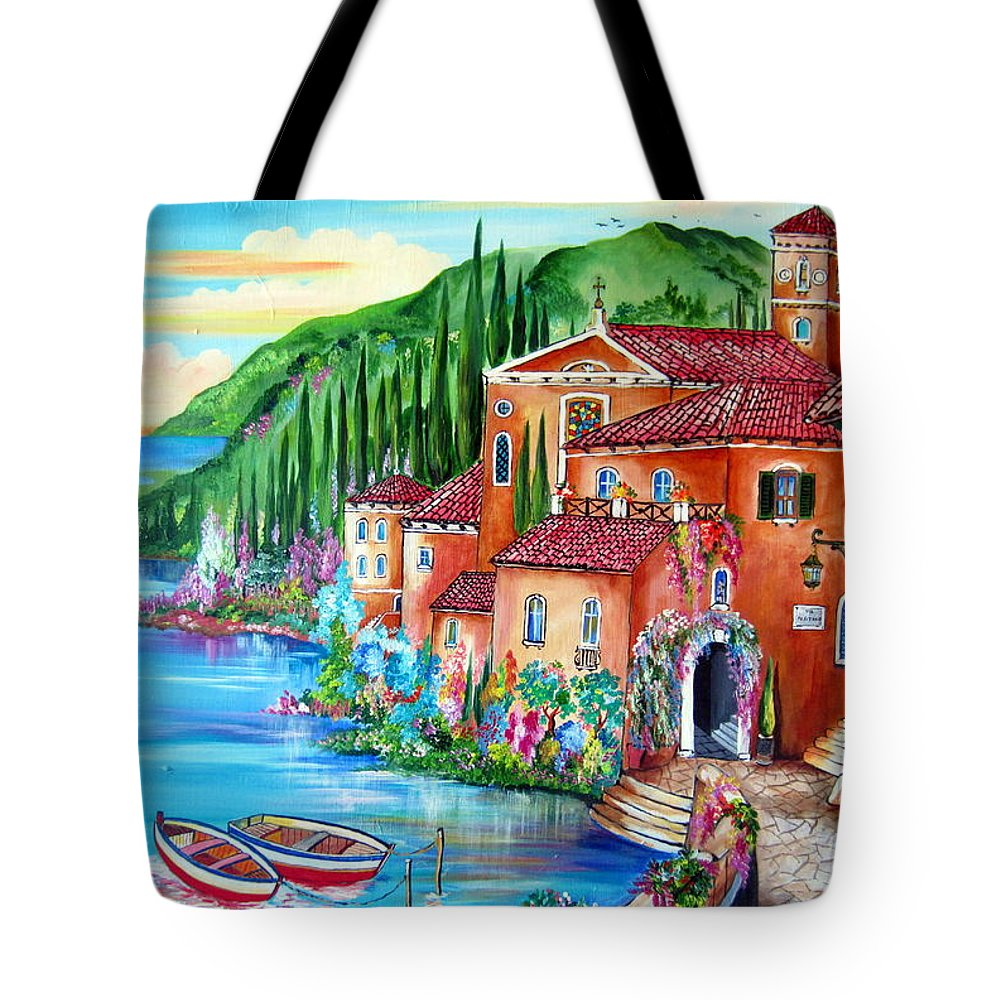 Village Tote Bag featuring the painting Via Positano By The Lake by Roberto Gagliardi