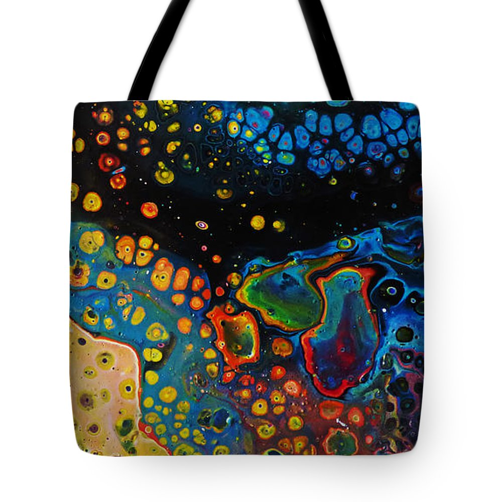 Vibrant Galaxy Tote Bag featuring the painting Vibrant Galaxy. by Trudee Hunter