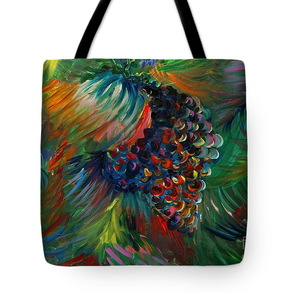 Grapes Tote Bag featuring the painting Vibrant Grapes by Nadine Rippelmeyer