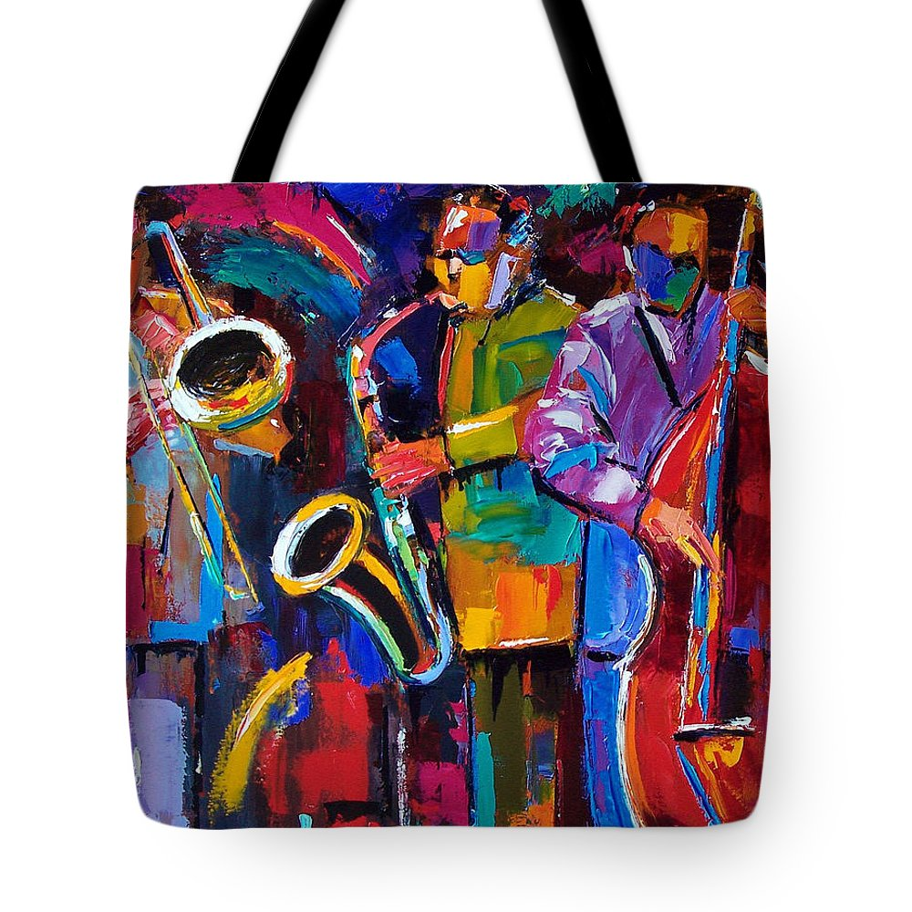 Jazz Tote Bag featuring the painting Vibrant Jazz by Debra Hurd