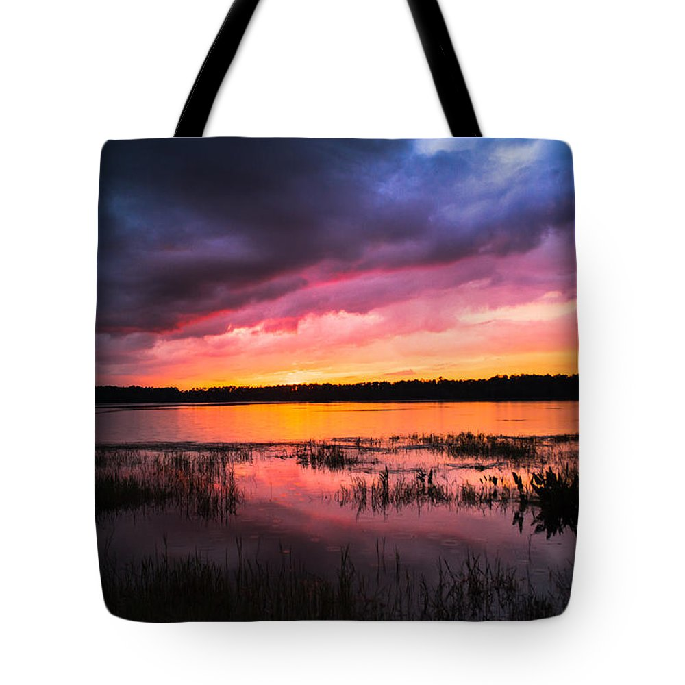 Sunset Tote Bag featuring the photograph Vibrant by Parker Cunningham