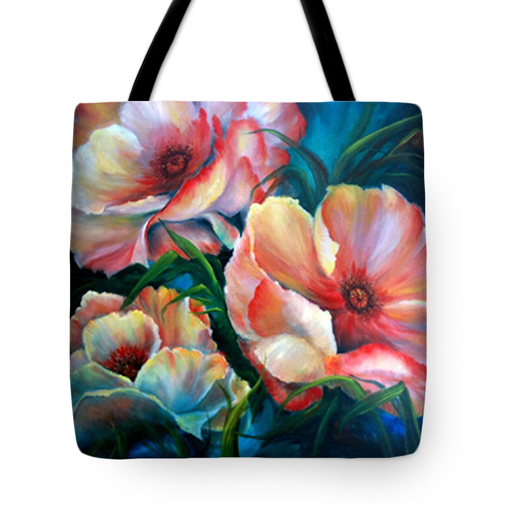 Poppies Tote Bag featuring the painting Vibrant Poppies by Meg Keeling
