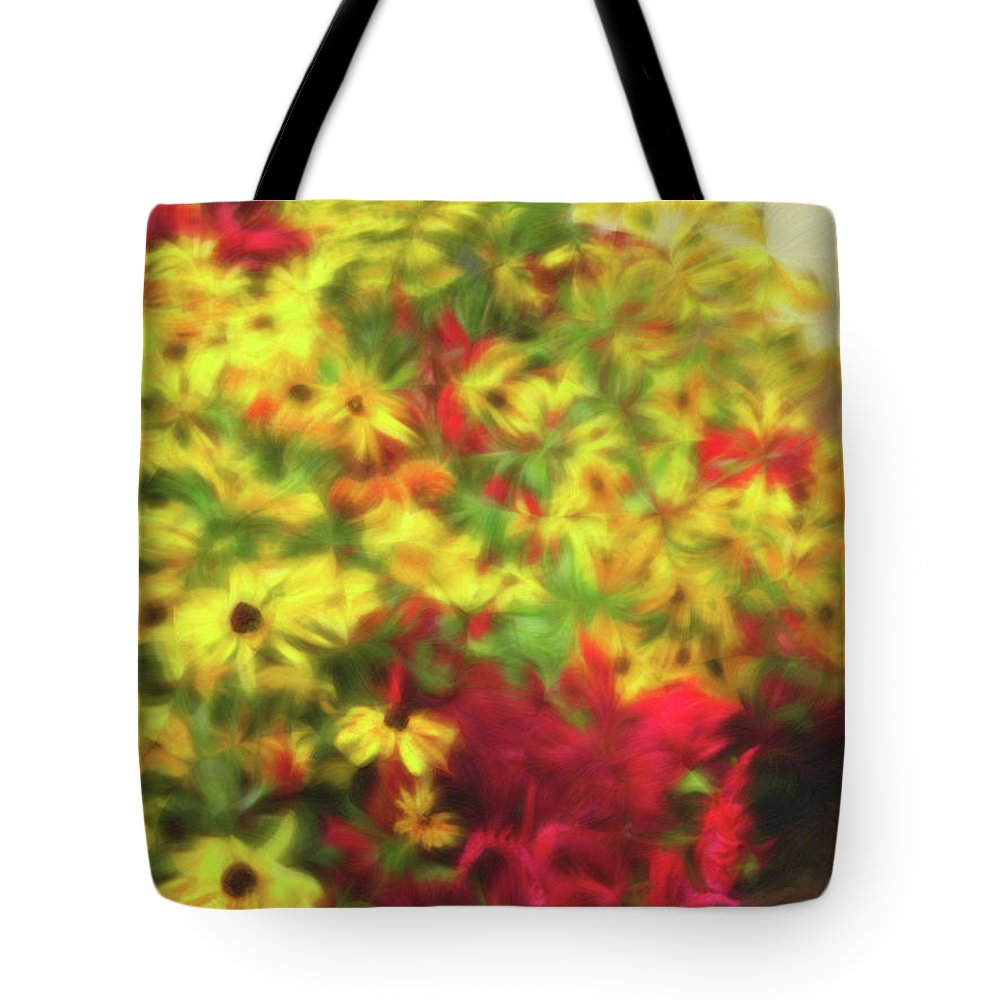 Yellow Daisies Tote Bag featuring the photograph Vibrant Yellow Daisies And Red Garden Flowers by Barbara Rogers Nature Inspired Art Photography