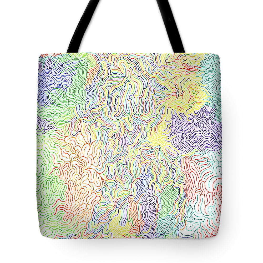 Mazes Tote Bag featuring the drawing Vibrations by Steven Natanson