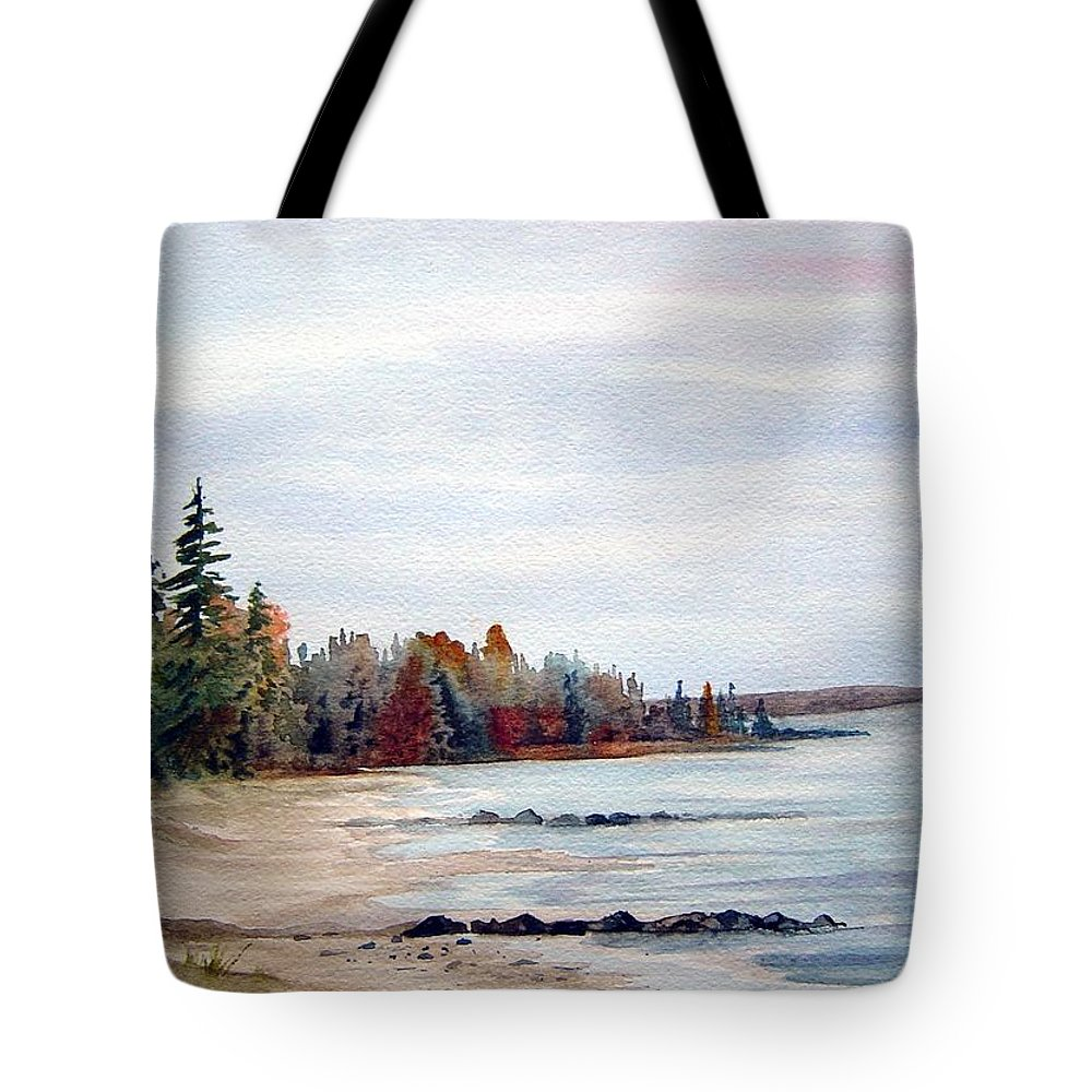 Victoria Beach Manitoba Shoreline Tote Bag featuring the painting Victoria Beach In Manitoba by Joanne Smoley