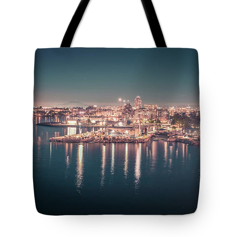 Victoria Bc Tote Bag featuring the photograph Victoria British Columbia City Lights View From Cruise Ship by Alex Grichenko