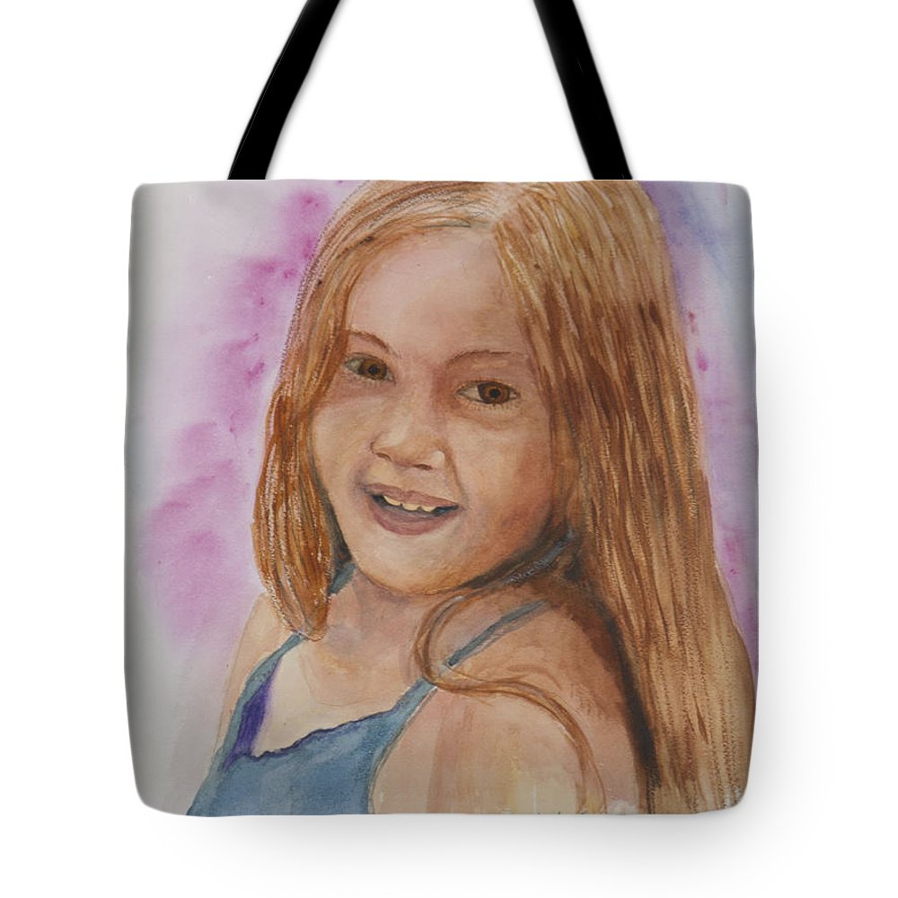 Girl. Portrait Tote Bag featuring the painting Victoria by Donna Walsh
