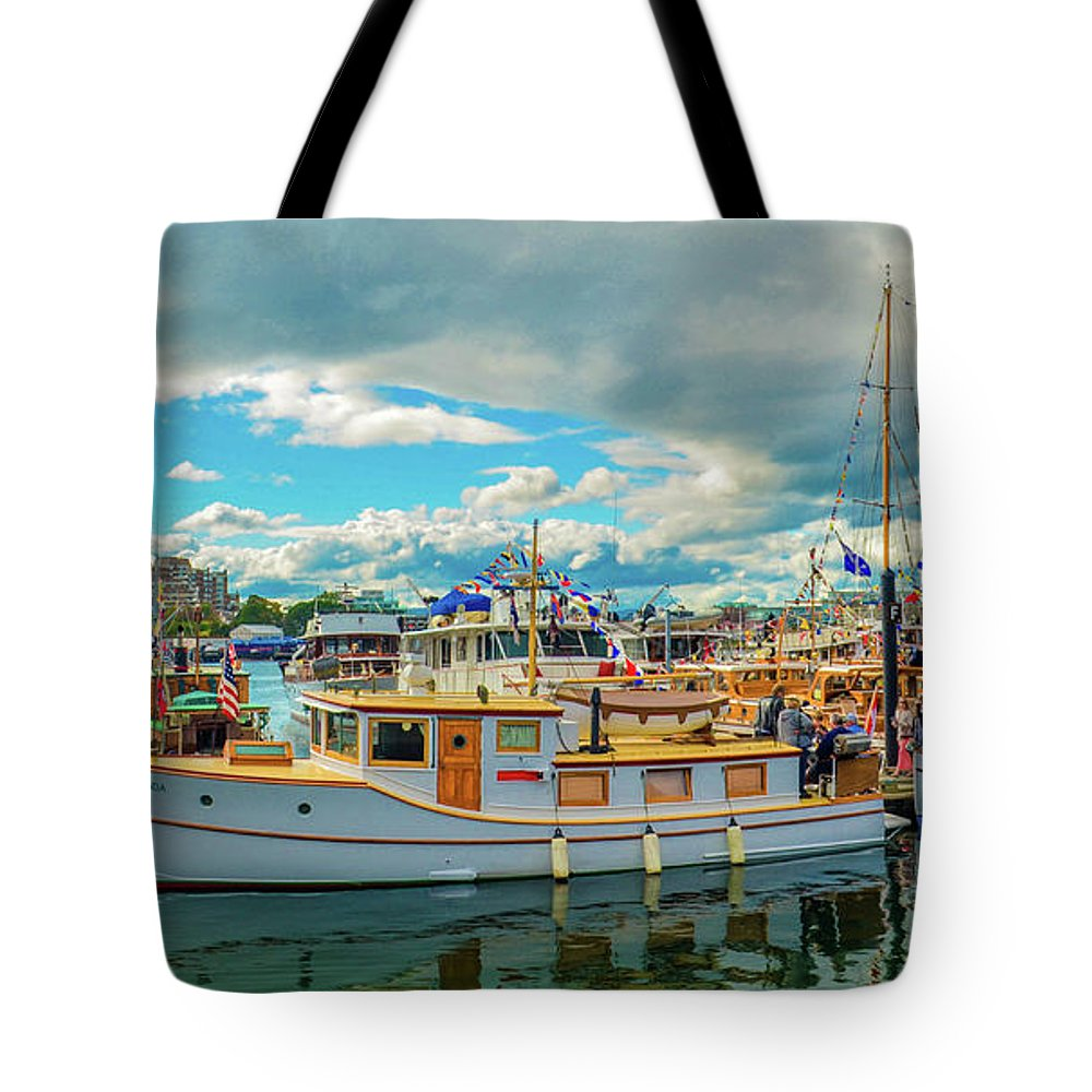 Boats Tote Bag featuring the photograph Victoria Harbor old boats by Jason Brooks