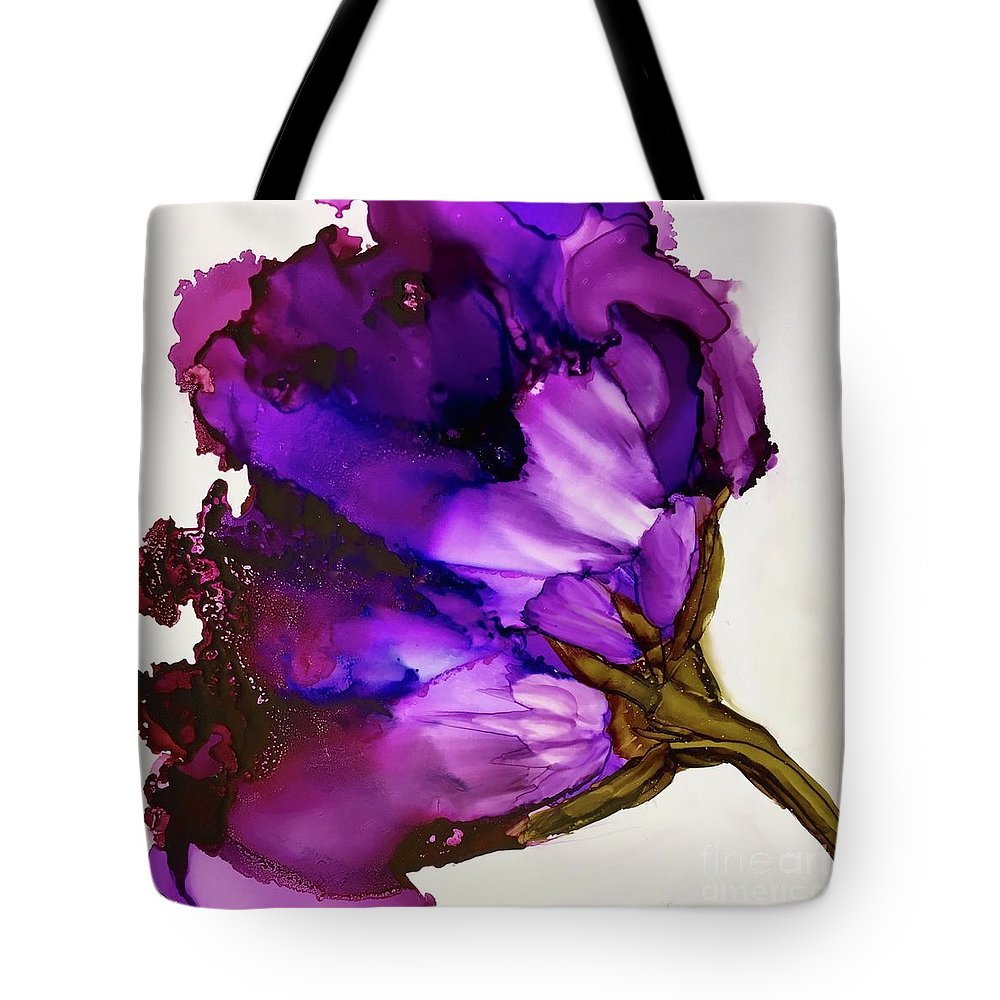 Deep Purples And Pinks Tote Bag featuring the painting Victoria by Leti C Stiles
