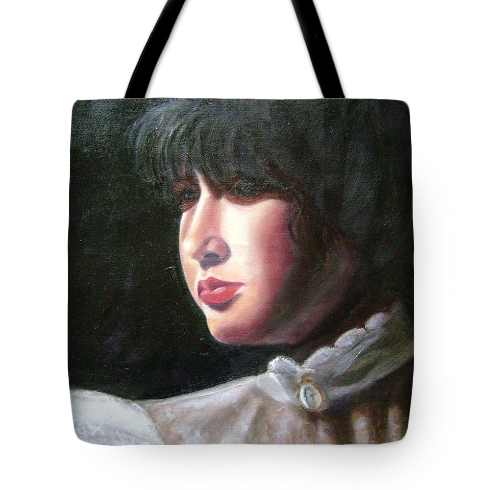 Girl In White Blouse Tote Bag featuring the painting Victorian Blouse by Toni Berry