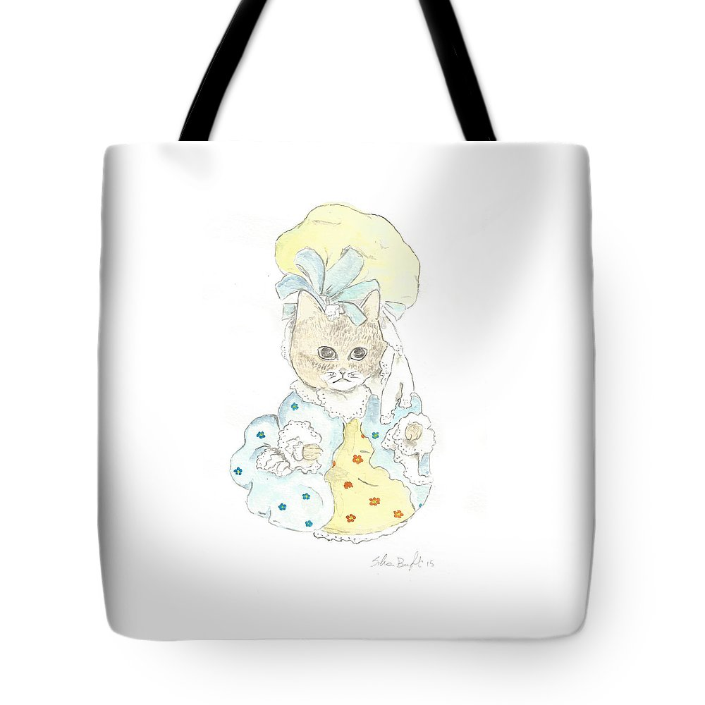 Well Dressed Cat Tote Bag featuring the painting Victorian Cat In Blue And Yellow by Silvia Beneforti
