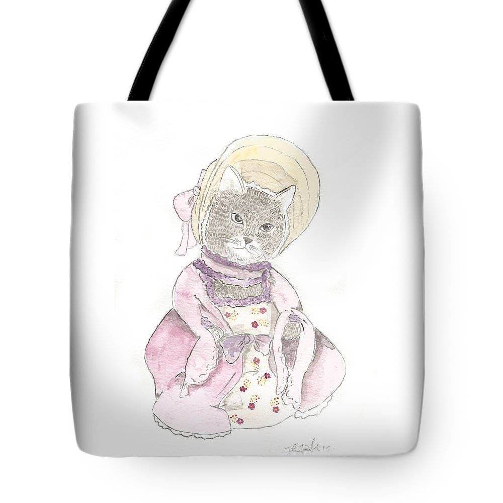 Victorian Tote Bag featuring the painting Victorian Cat In Purple by Silvia Beneforti