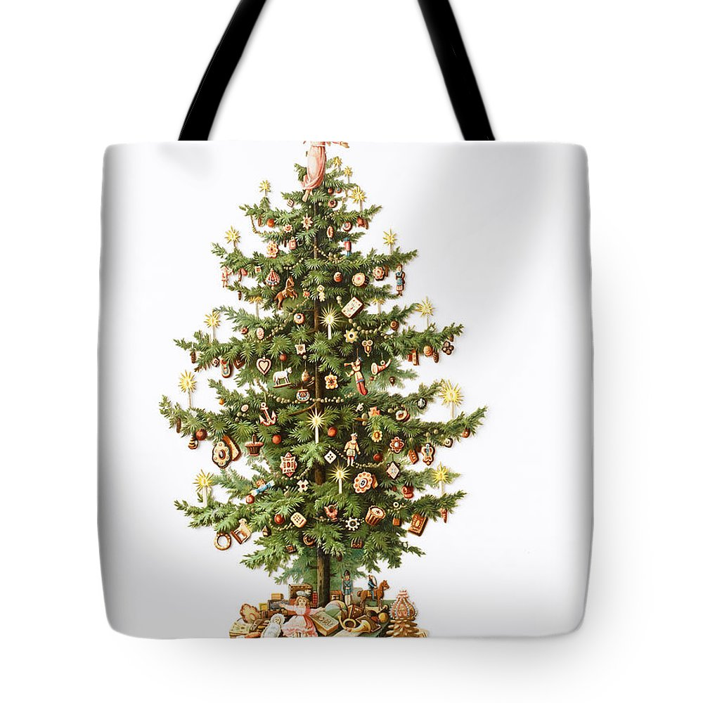 Festive; Tree; Presents; Decorations; Decoration; Fir; Angel Tote Bag featuring the painting Victorian Christmas card by English School