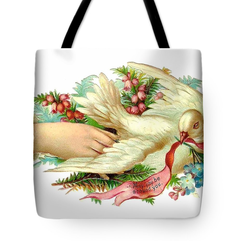 Dove Tote Bag featuring the digital art Victorian Dove by Marianne Dow