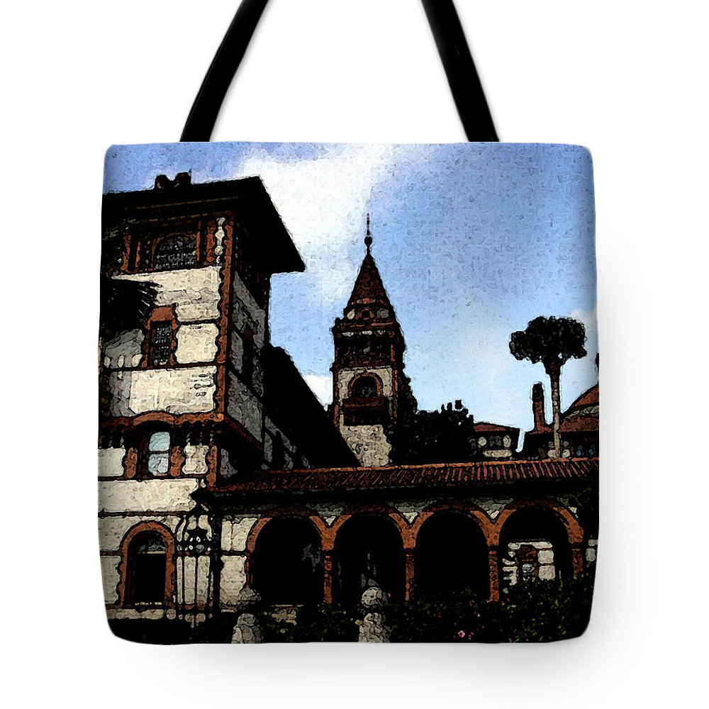 Hotel Tote Bag featuring the mixed media Victorian Era Hotel by Shirley Heyn
