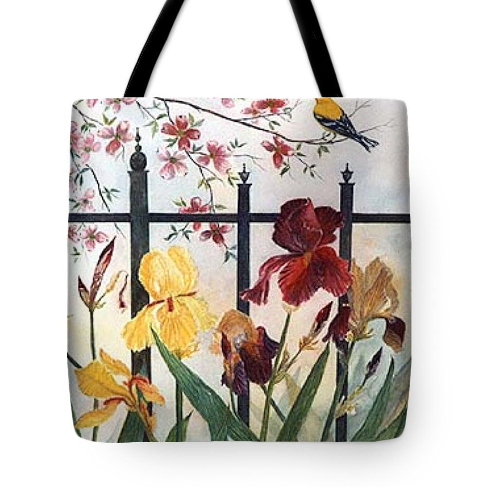 Irises; American Goldfinch; Dogwood Tree Tote Bag featuring the painting Victorian Garden by Ben Kiger