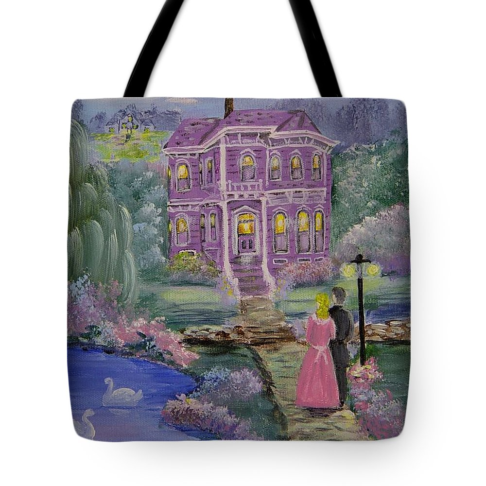 Victorian Tote Bag featuring the painting Victorian Romance 1 by Quwatha Valentine