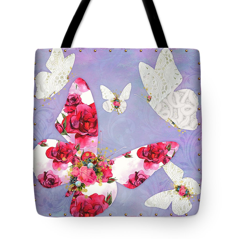 Insect Tote Bag featuring the digital art Victorian Wings, Fantasy Floral And Lace Butterflies by Tina Lavoie