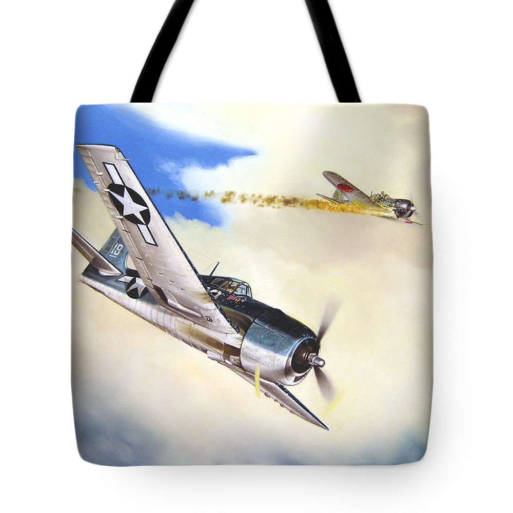 Military Tote Bag featuring the painting Victory For Vraciu by Marc Stewart