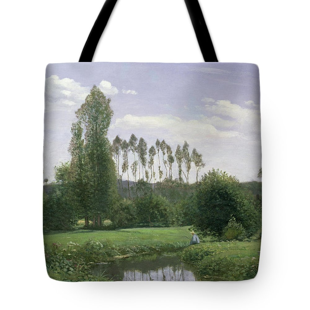 View At Rouelles Tote Bag featuring the painting View At Rouelles by Claude Monet