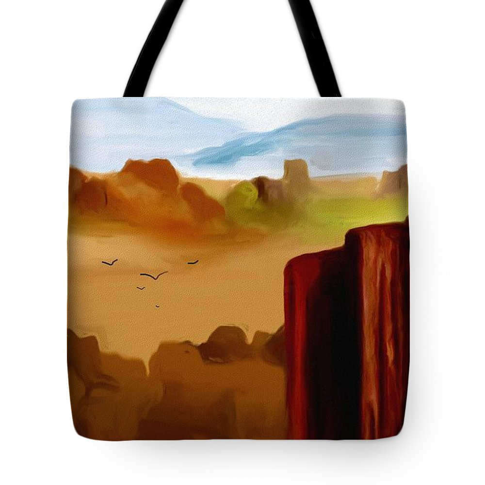 Digital Painting Tote Bag featuring the digital art View From A Butte by David Lane