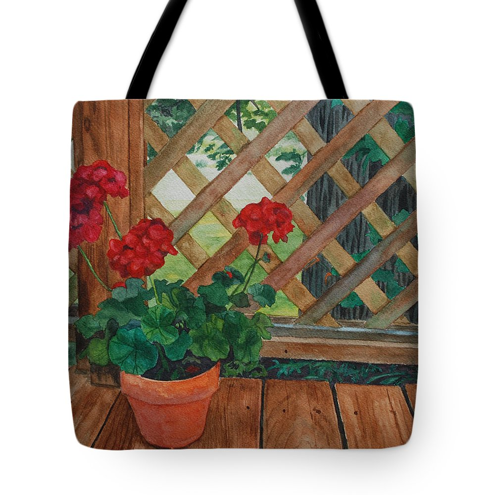 Watercolor Tote Bag featuring the painting View From A Deck by Lynne Reichhart