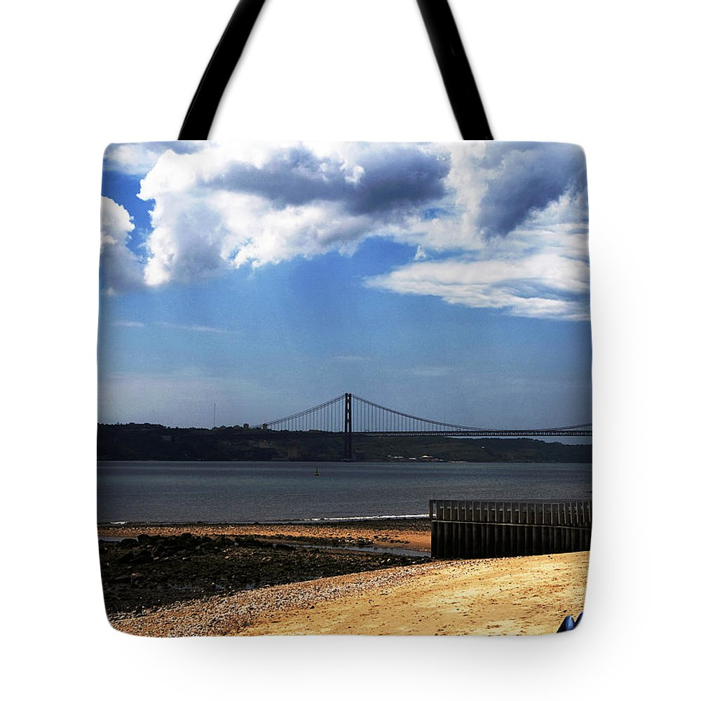Lisbon Tote Bag featuring the photograph View From Across The Tagus by Lorraine Devon Wilke