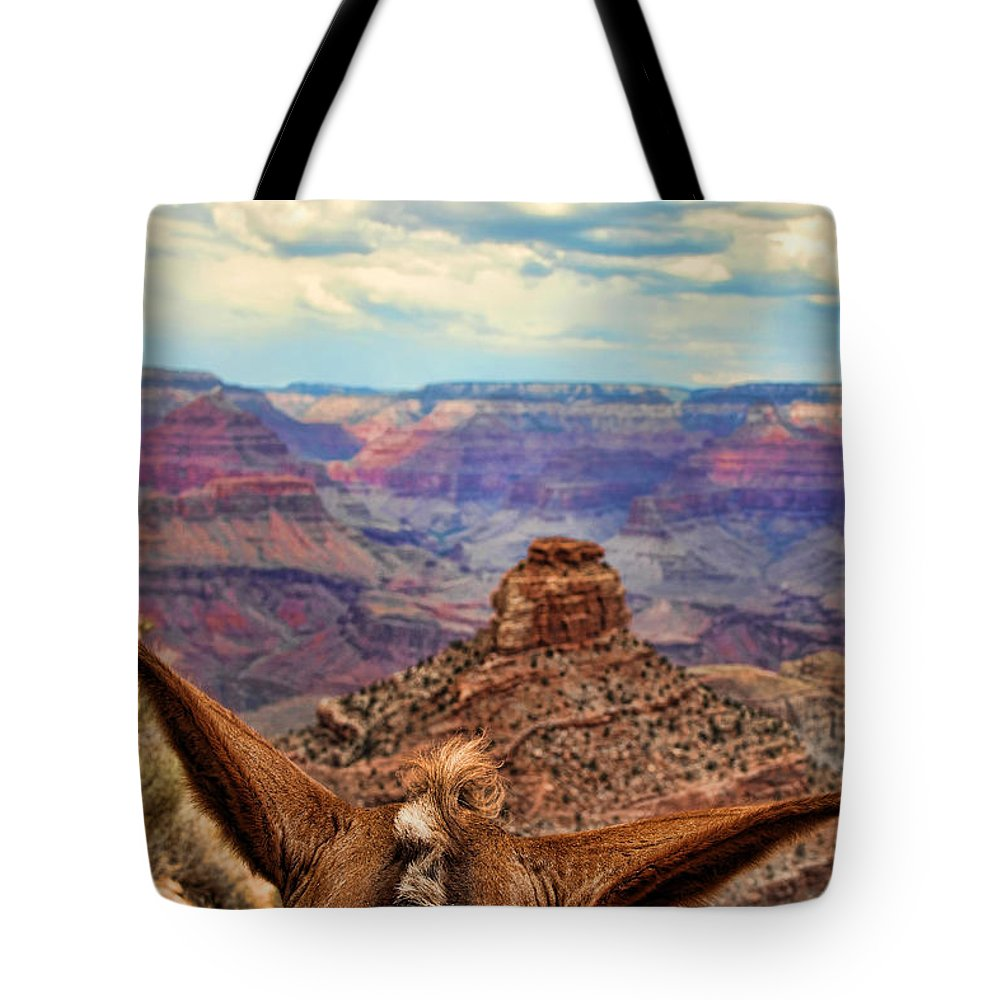 Grand Canyon Tote Bag featuring the photograph View From Behind The Ears by Sissy Schneiderman