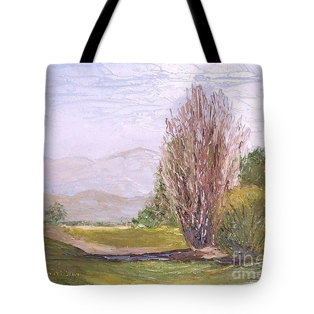 Landscape Tote Bag featuring the painting View From Casa Galleria by Jeanie Watson