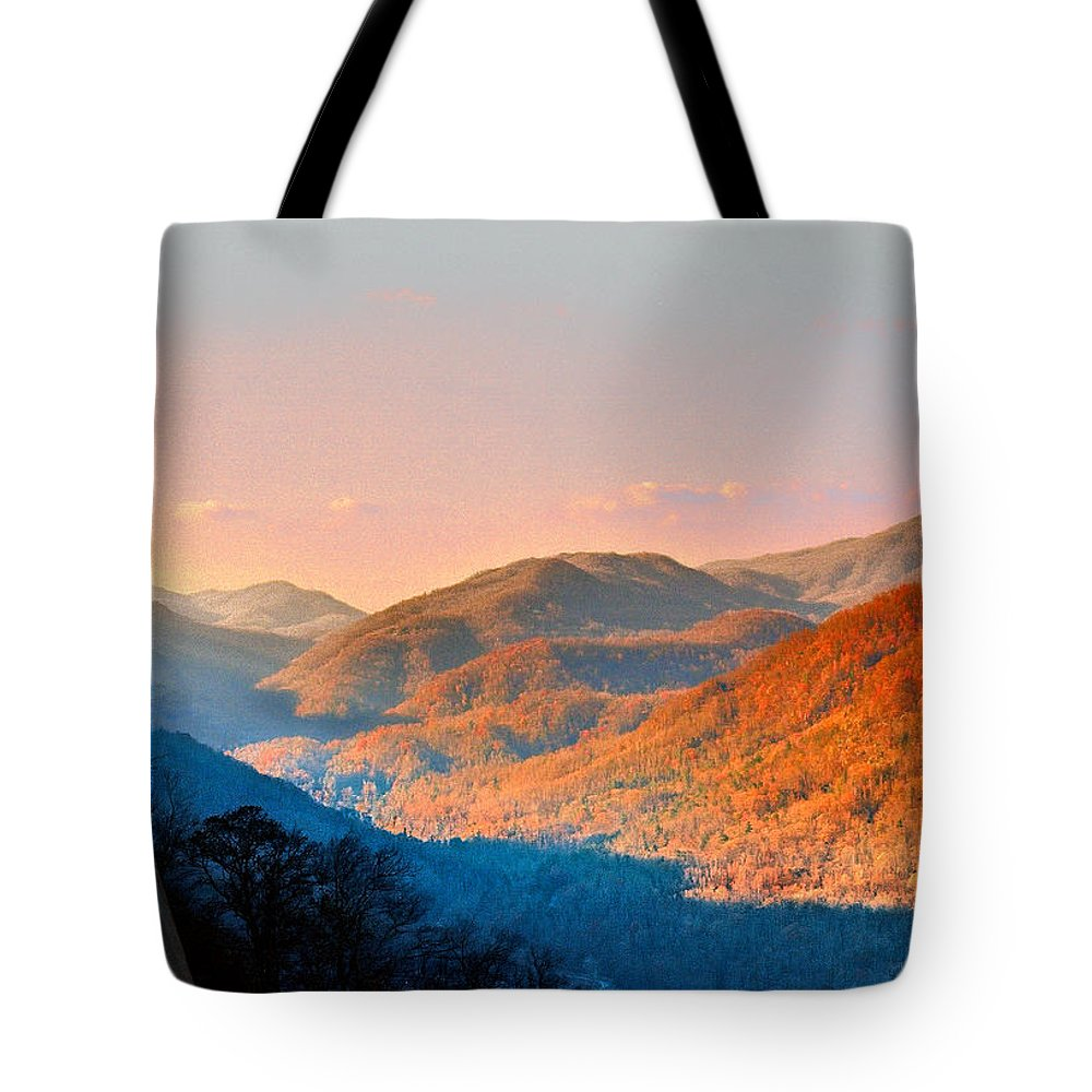 Landscape Tote Bag featuring the photograph View From Chimney Rock-north Carolina by Steve Karol