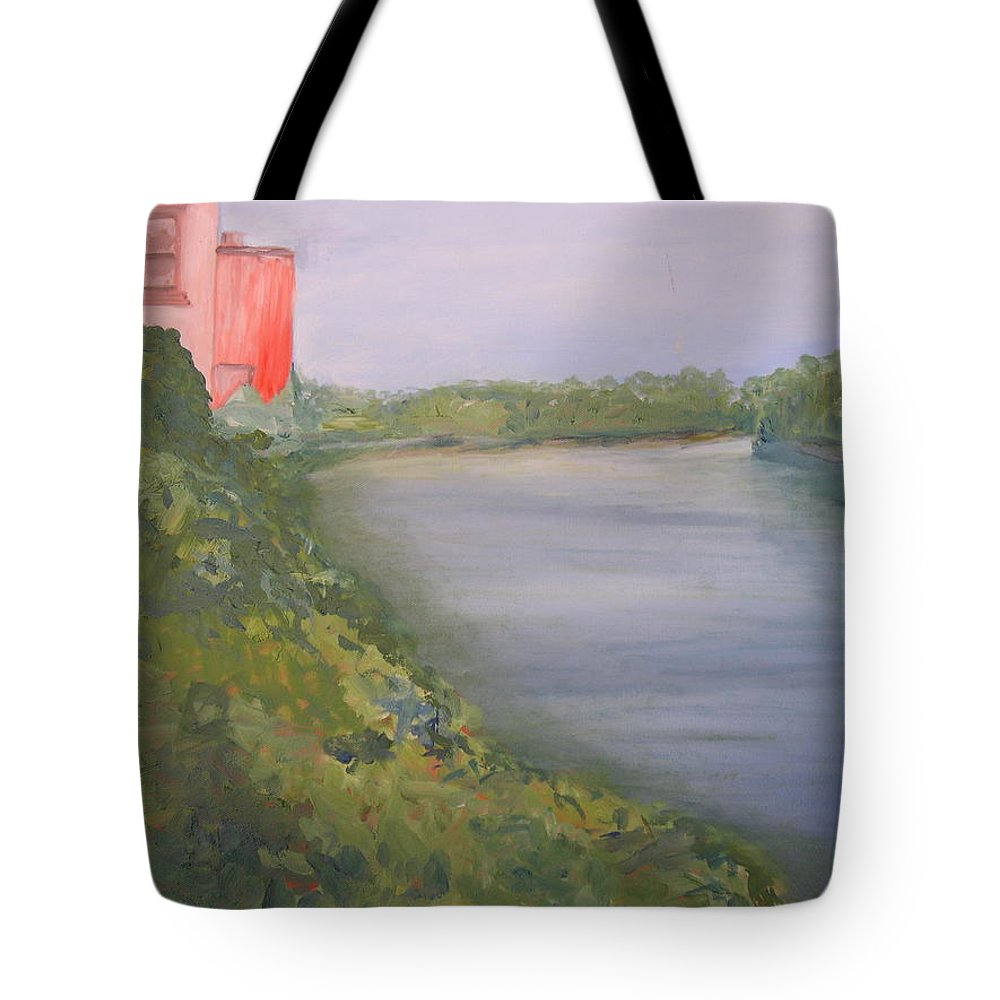 Landscape River Water Nature Tote Bag featuring the painting View From Edmund Pettus Bridge by Patricia Caldwell