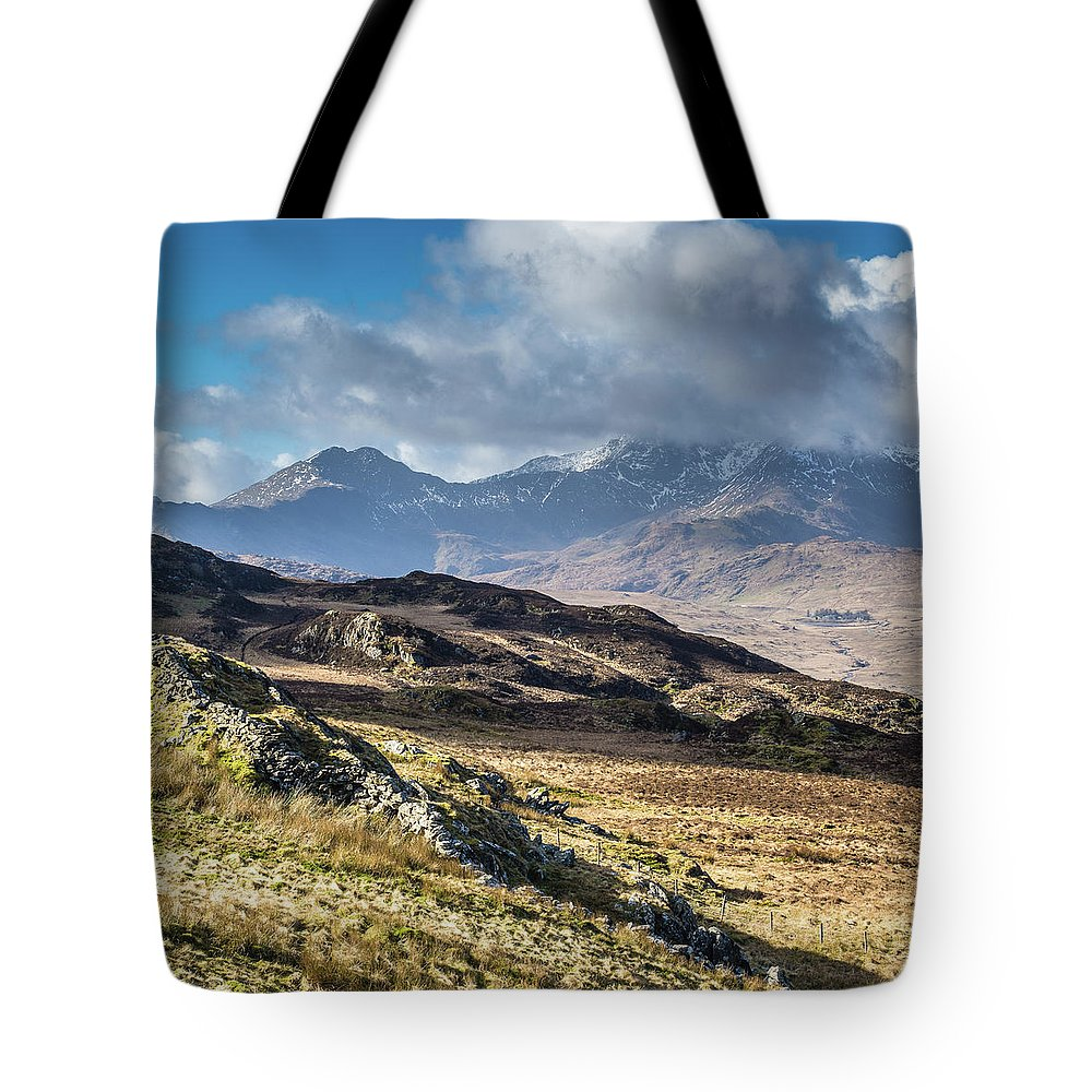 Moel Siabod Tote Bag featuring the photograph View from Moel Siabod, Snowdonia, North Wales by Anthony Lawlor