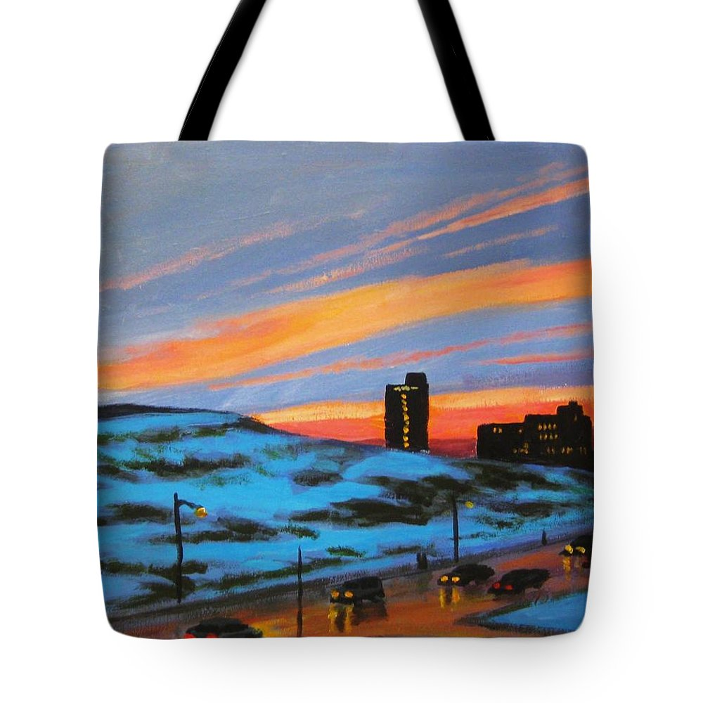 City At Night Tote Bag featuring the painting View From My Balcony by John Malone