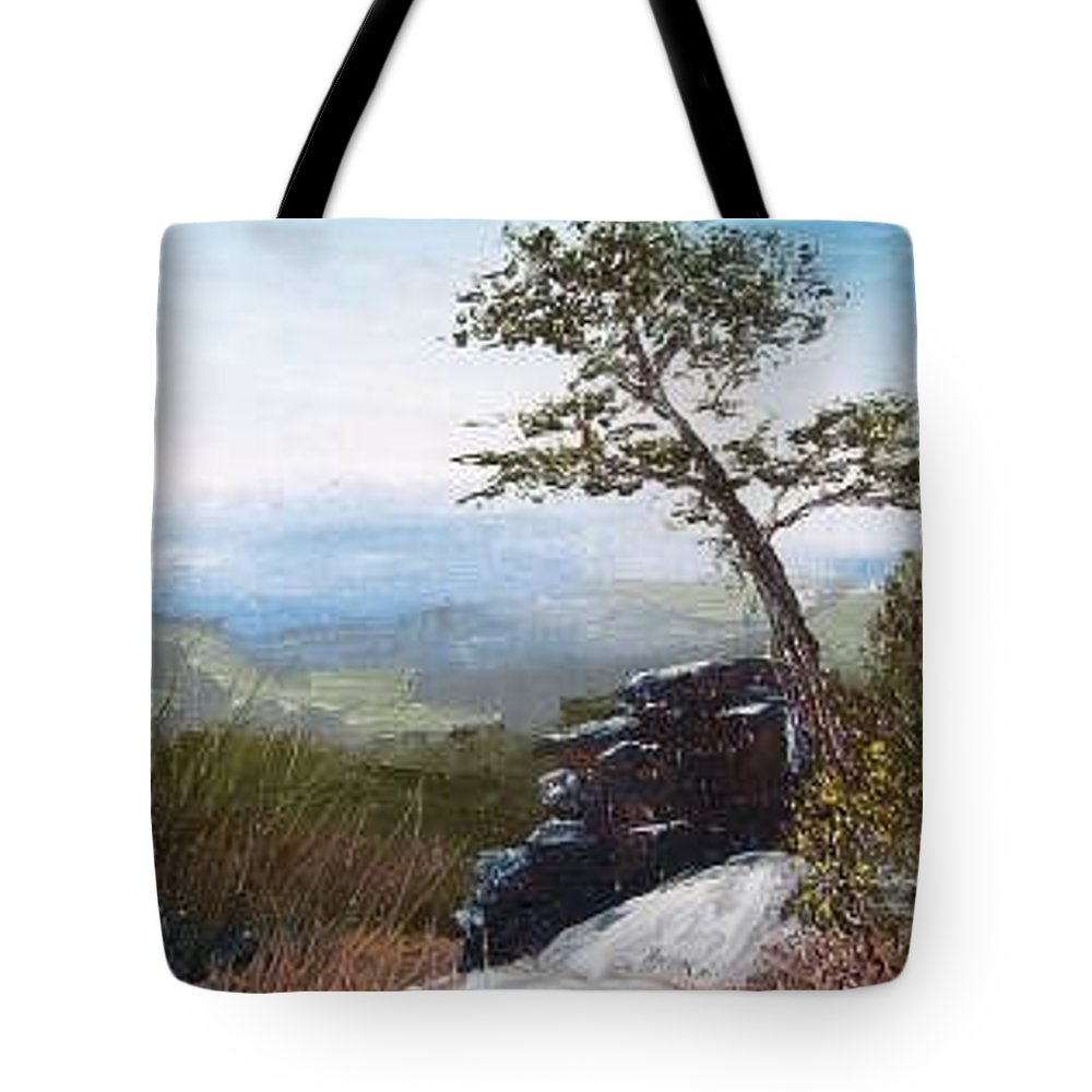Landscape / Nature / Blue Ridge Mountains Tote Bag featuring the painting View From Pilot Mountain by Tami Booher