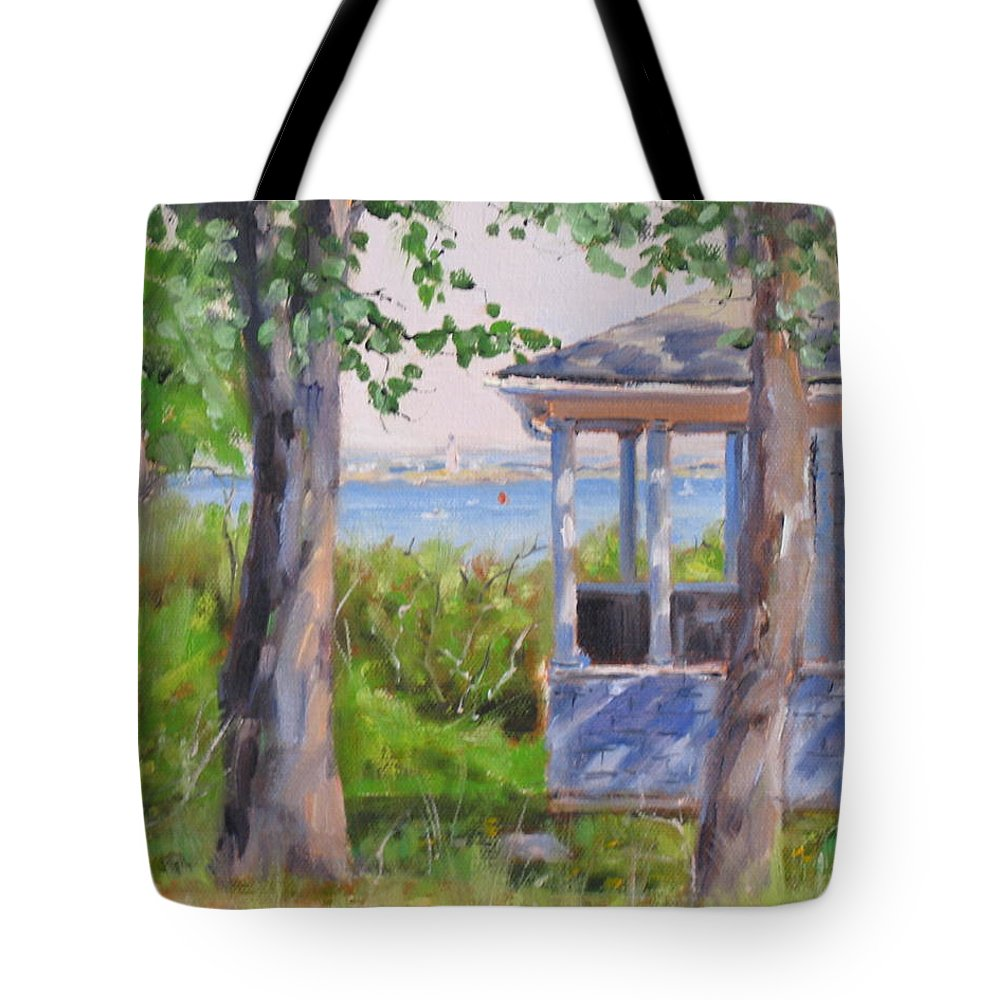 Oil Painting Tote Bag featuring the painting View From Pointe Allerton by Laura Lee Zanghetti