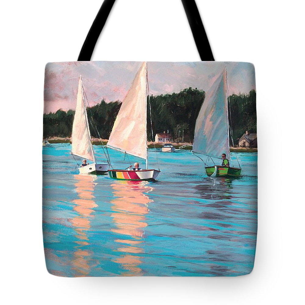 Actrylic Painting Tote Bag featuring the painting View From Rich's Boat by Laura Lee Zanghetti