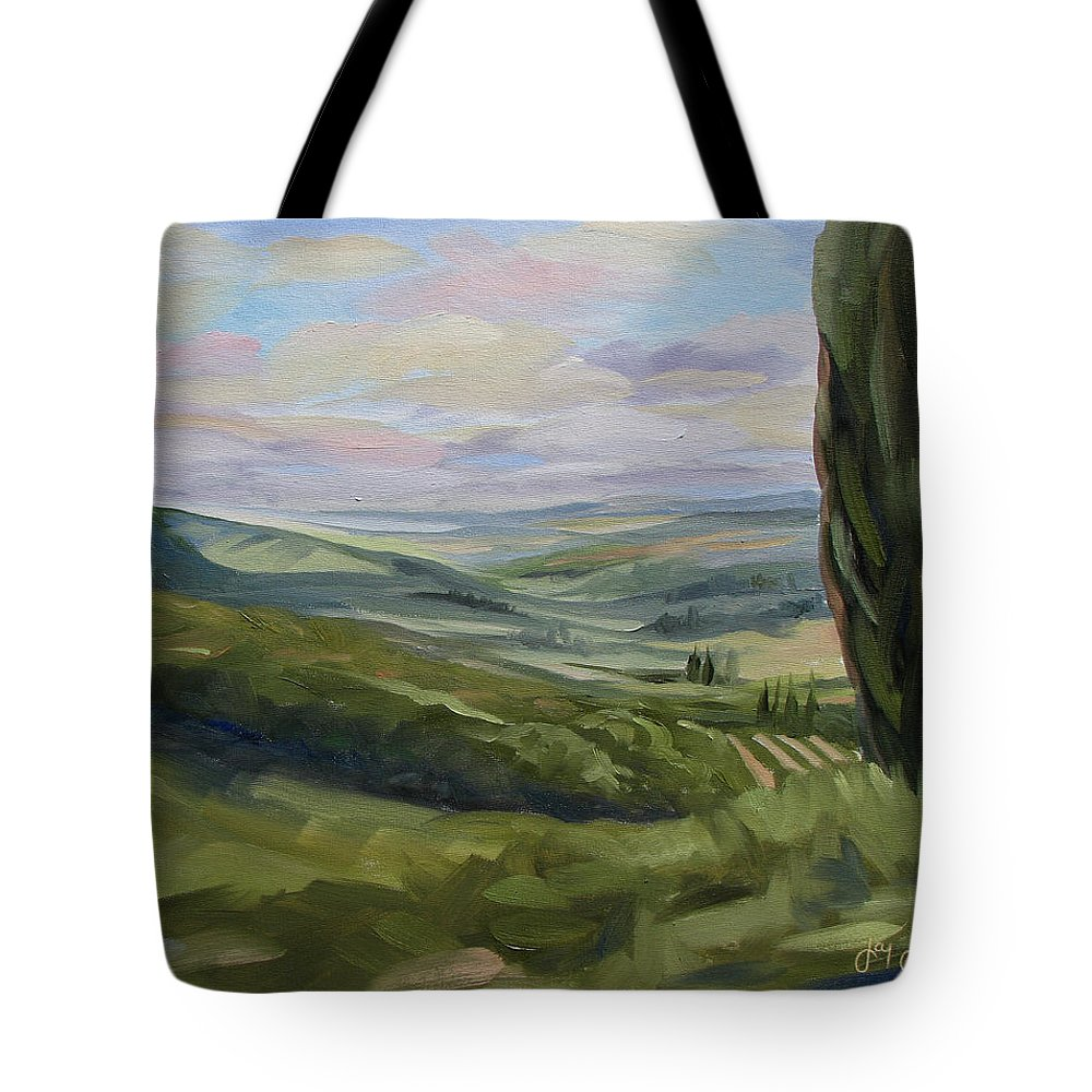 Landscape Tote Bag featuring the painting View From Sienna by Jay Johnson