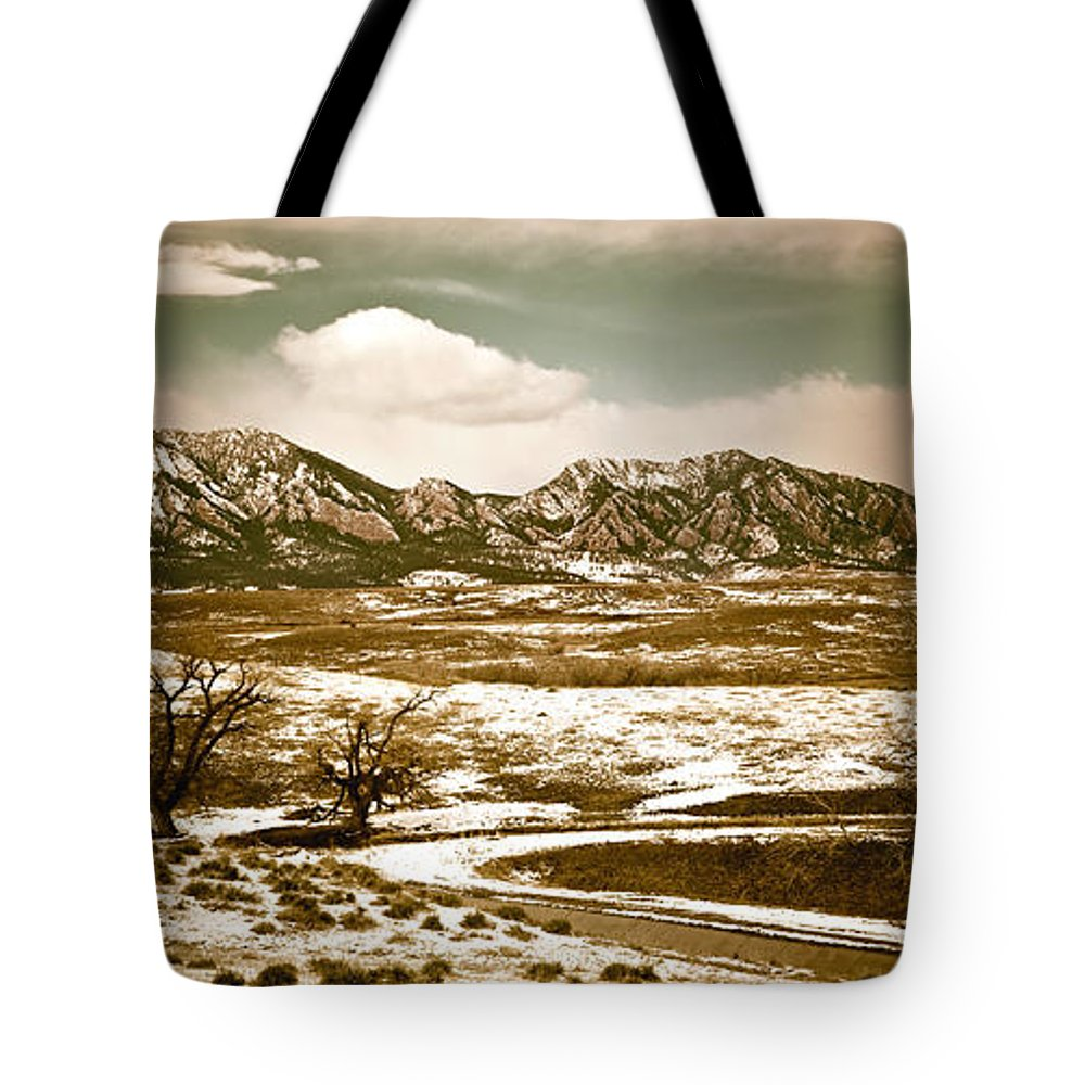 Landscape Tote Bag featuring the photograph Flatironsview From Superior by Marilyn Hunt