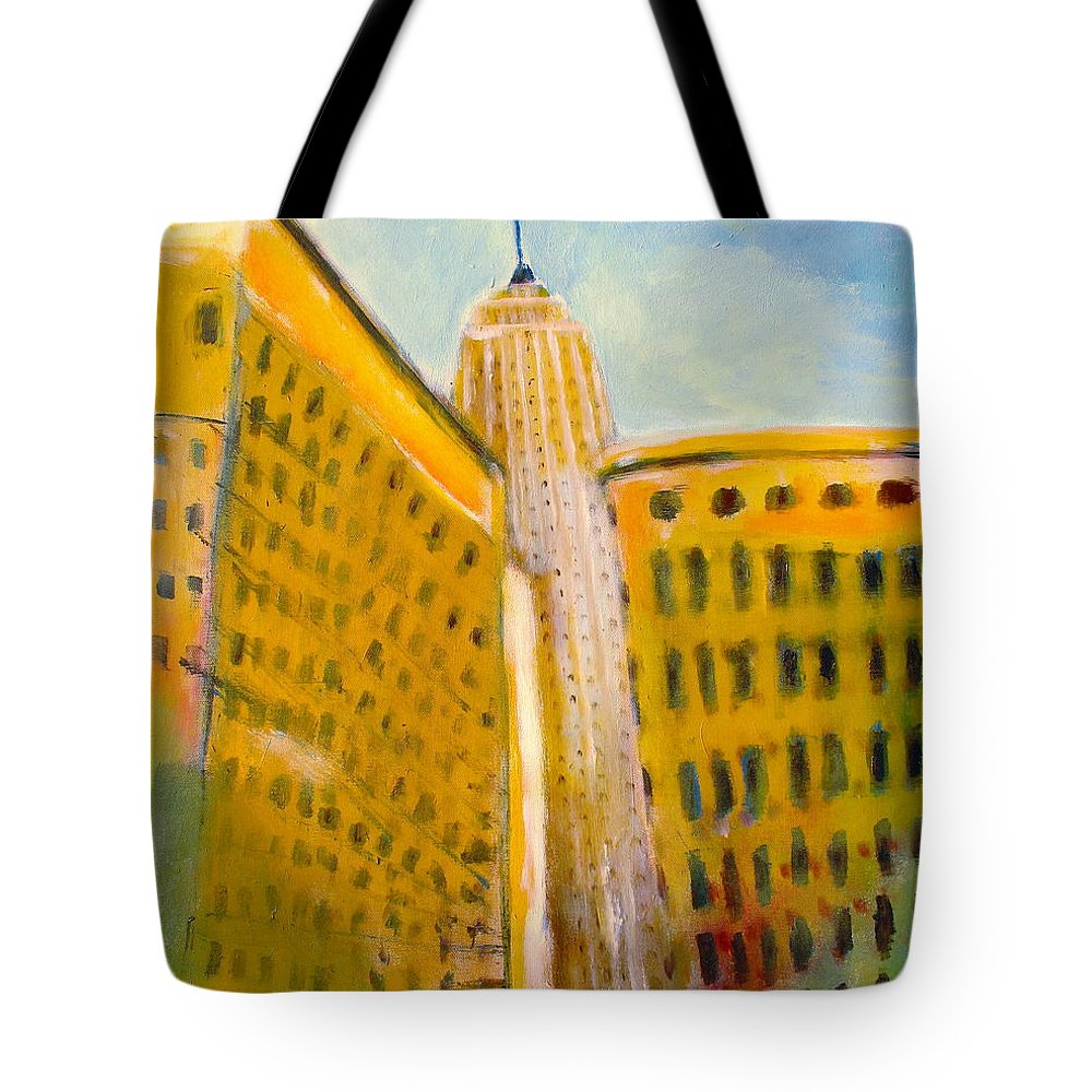 Abstract Cityscape Tote Bag featuring the painting View From The 33 St by Habib Ayat