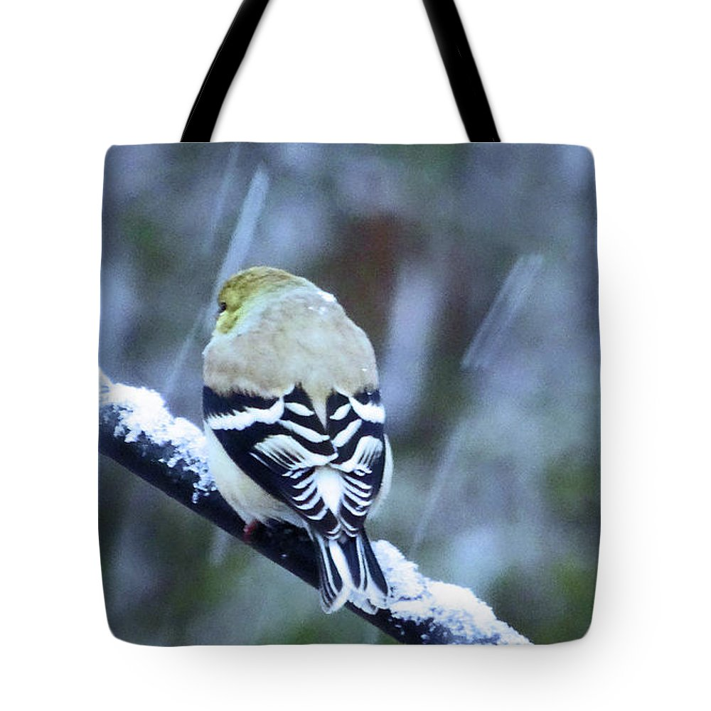Snowing Tote Bag featuring the photograph View From The Back by Eunice Warfel