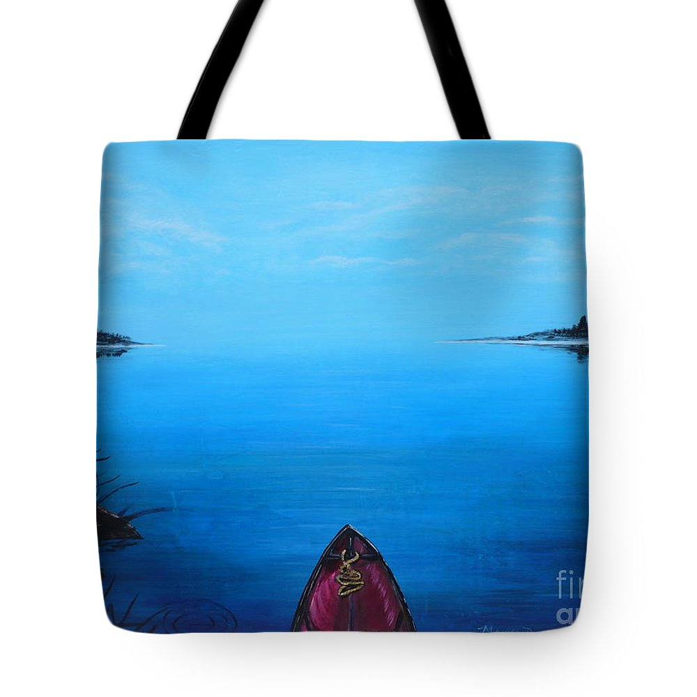 Landscape Tote Bag featuring the painting View From The Beach by Monika Shepherdson