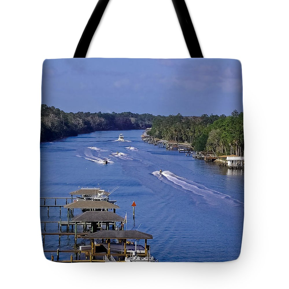 River Tote Bag featuring the photograph View From The Bridge Of Lions by DigiArt Diaries by Vicky B Fuller