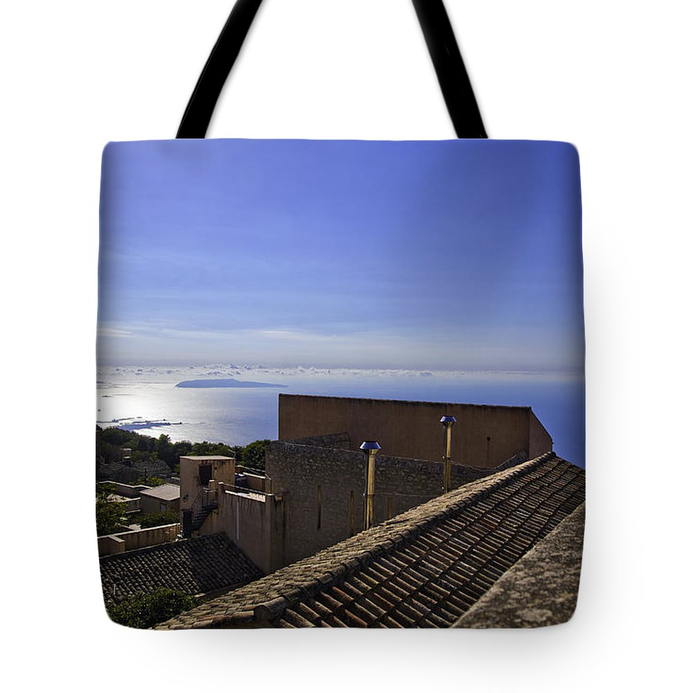 Rooftop Tote Bag featuring the photograph View From The Top In Sicily by Madeline Ellis