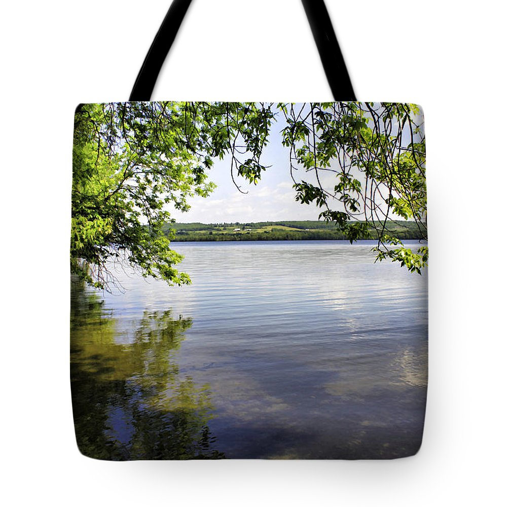 Vermont Tote Bag featuring the photograph View From Under At Lake Carmi by Deborah Benoit