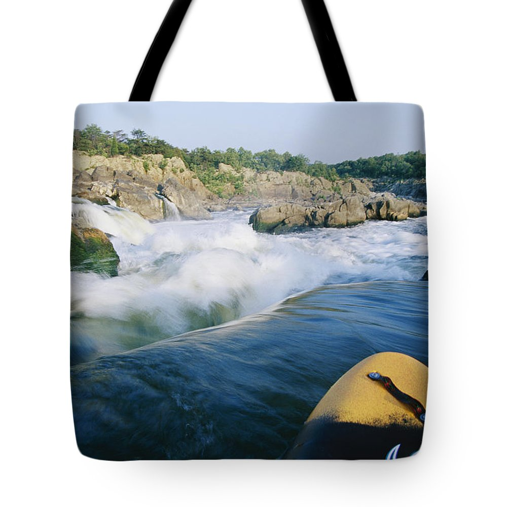 Water Tote Bag featuring the photograph View From Whitewater Kayak At The Top by Skip Brown