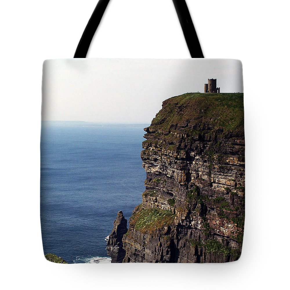 Irish Tote Bag featuring the photograph View Of Aran Islands And Cliffs Of Moher County Clare Ireland by Teresa Mucha