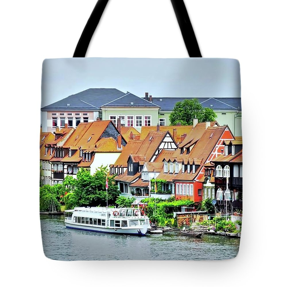 Bamberg Tote Bag featuring the photograph View Of Bamberg Riverfront by Kirsten Giving